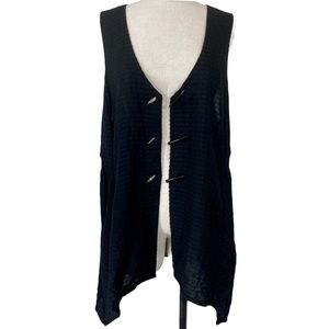 Black linen Boho long handkerchief hem large vest